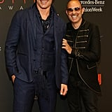 A beardless Joe Manganiello walked the red carpet with designer John Varvatos.