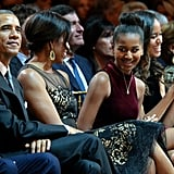 When Michelle and Sasha giggled during a Christmas celebration.