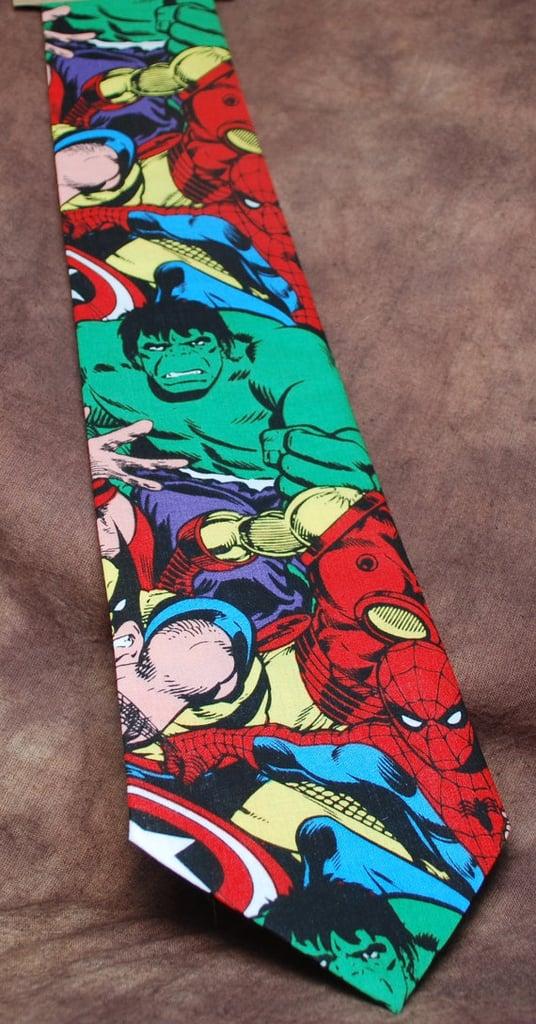 "<a href=""https://www.etsy.com/listing/174098911/jumbled-marvel-neck-tie"">Jumbled Marvel Tie</a> ($33)"