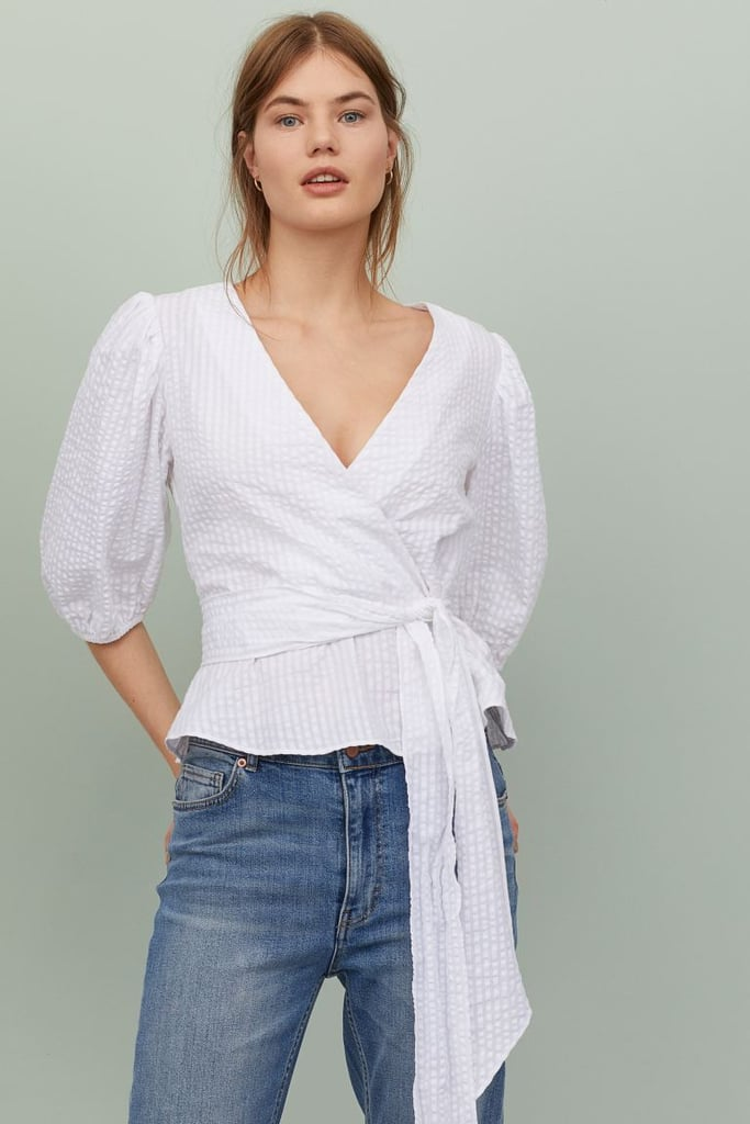 H&M Puff-Sleeved Wrapover Blouse