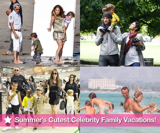 Pictures of Jennifer Lopez, Angelina Jolie, Jude Law, and Halle Berry on Summer Vacation With Their Kids