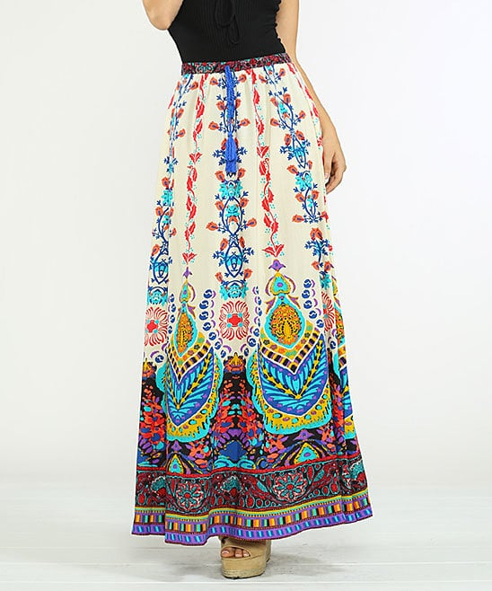 Flying Tomato Ivory & Aqua Geometric Tassle-Tie Maxi Skirt (Sold Out)