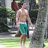Hayden Panettiere's boyfriend, New York Jets wide receiver, Scotty McKnight, showed off his beach body while on vacation with her in Hawaii.
