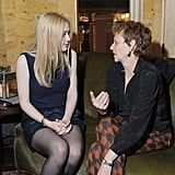 Director Naomi Foner and actress Dakota Fanning were in deep conversation at the Very Good Girls afterparty.