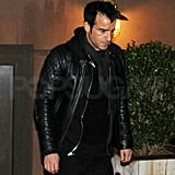 Justin Theroux left NYC's Blue Hill Farms restaurant.