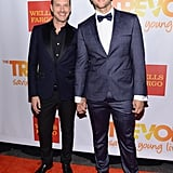 Cheyenne Jackson and his fiancé, Jason Landau, held hands.