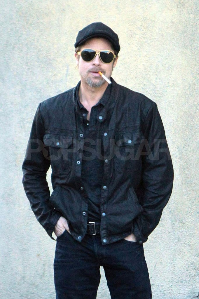 Brad Pitt Takes a Sexy Break From Studio Time