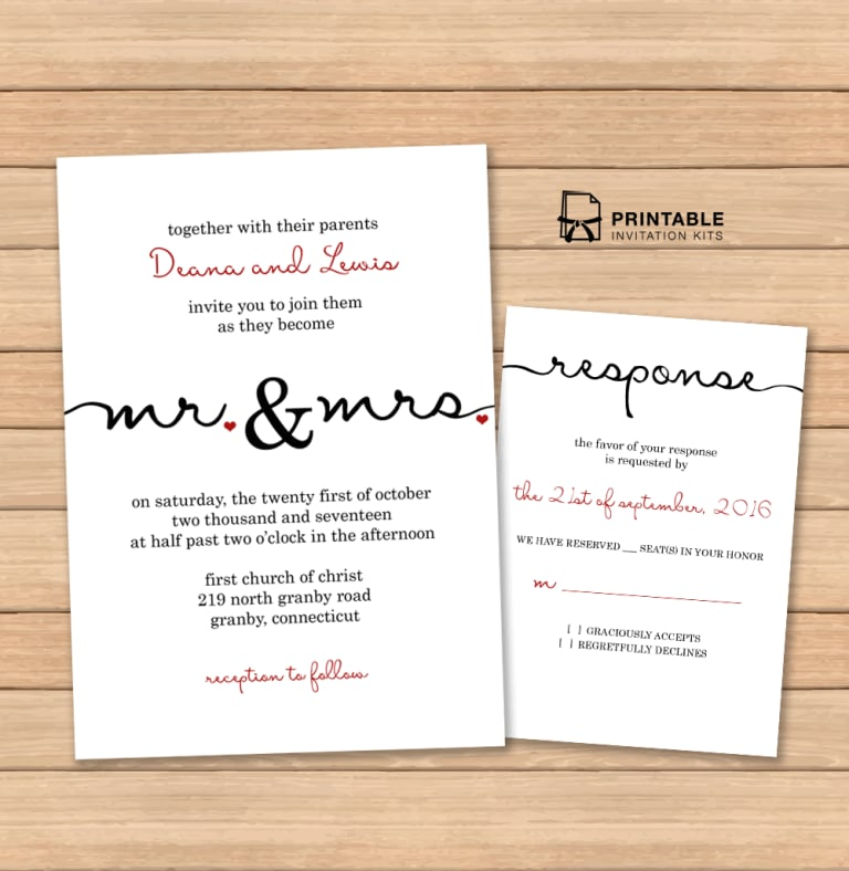 Printable Wedding Invitations: Caligraphy Wedding Invitation