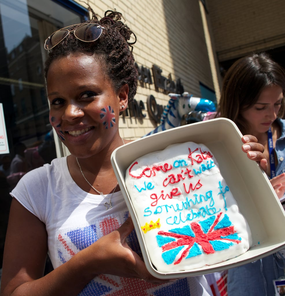 "One woman brought a cake with the message, ""Come on, Kate, we can't wait, give us something to celebrate!"""