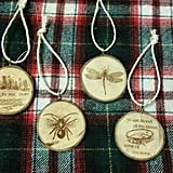Engraved Wood Ornaments ($20)