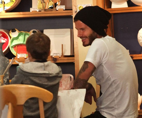 Slide Picture of David Beckham With Boys at Color Me Mine