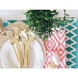 The finds: the linens and placemat at this table setting are from HomeGoods.