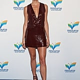 Stacy Keibler put her famous stems on display in this sequined Diane von Furstenberg minidress.