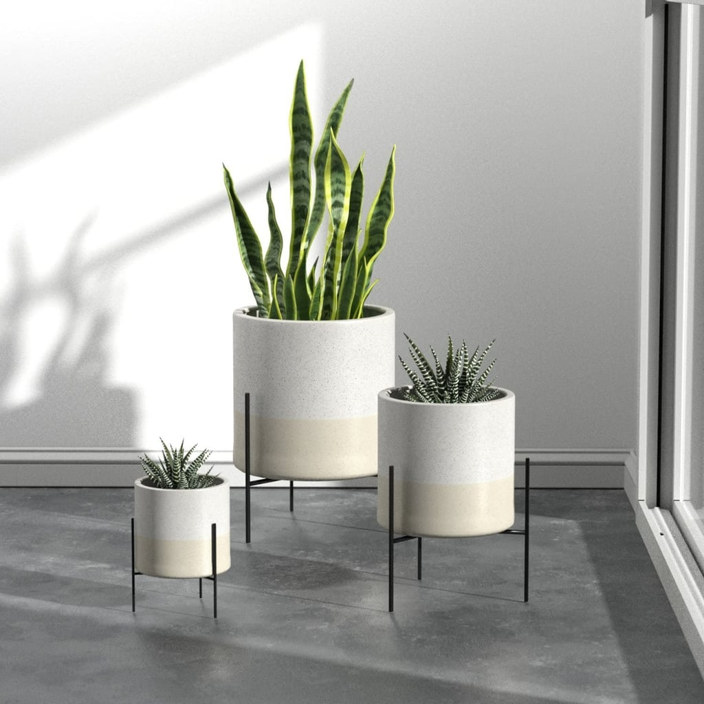 Rivet Mid-Century Ceramic Planter With Stand