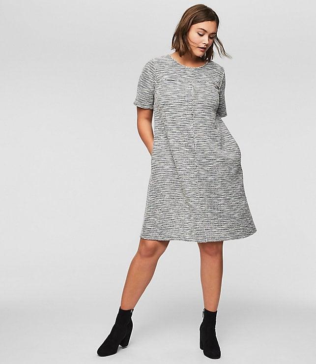 LOFT Fringe Tweed Pocket Dress