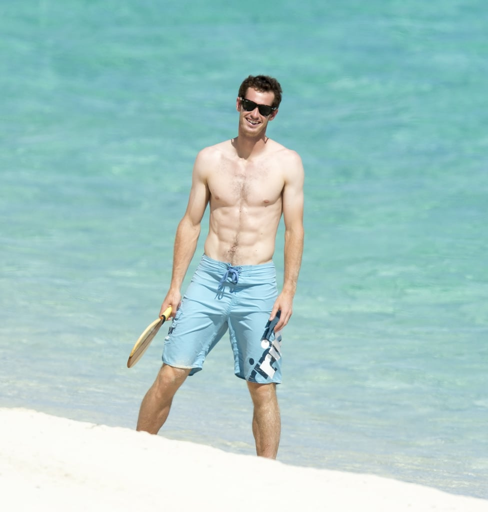 Andy Murray Goes Shirtless and Showers Kim Sears With PDA