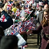 Kate Middleton greeted the crowd in Newcastle upon Tyne.