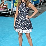 Jennifer Aniston wore a short floral dress to the London premiere.