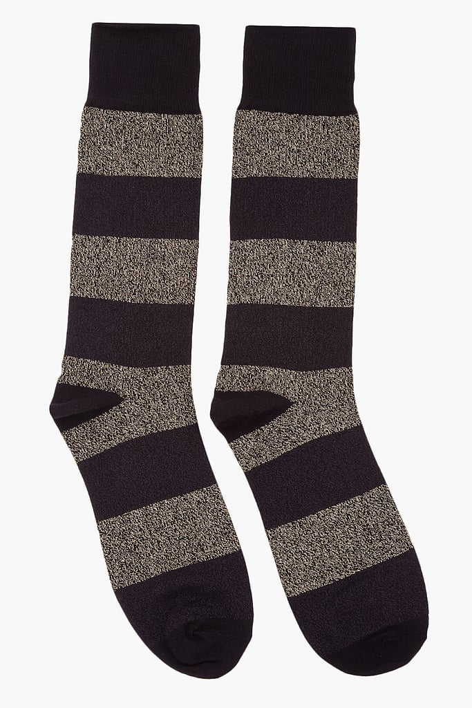 A festive way to wear your love of metallics and stripes on your feet, courtesy of Marc by Marc Jacobs gold-stripped socks ($25).