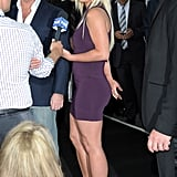 Simon Cowell and Britney Spears did interviews at the Fox Upfronts party at a skating rink in Central Park.