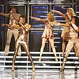 Sexy metallics and neutrals ruled at the Spice Girls world tour in London in 2008.