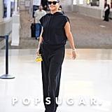 Rihanna Wearing Black Sweats at the Airport