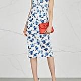 Max Mara Merlot Floral Print Stretch Cotton Dress