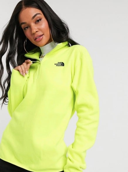 The North Face 100 Glacier 1/4 Zip Fleece in Neon Yellow