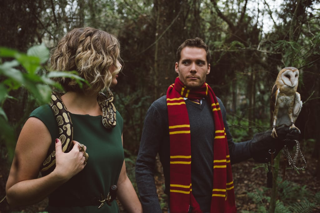 This Gryffindor vs. Slytherin Engagement Shoot Features a Real Owl and Snake