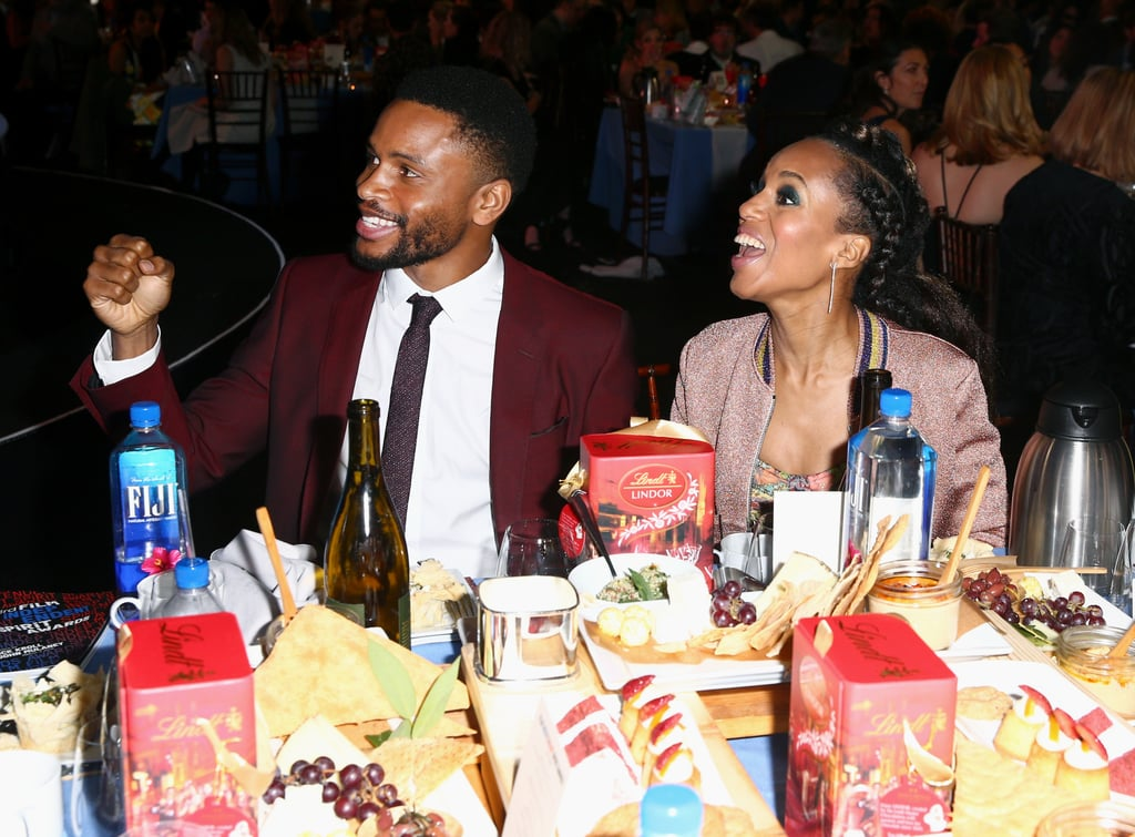 Kerry Washington and Nnamdi Asomugha used the 2018 Spirit Awards as an adorable date night, and we're swooning at the photos. The couple, who rarely makes public appearances together, put their love on full display throughout the evening, posing for photos together and sharing laughs at their table. The Scandal actress was on hand at the swanky event to support her (very handsome) husband and the father of her two children as he was nominated for best supporting male for his performance in Crown Heights. Keep reading to see more photos of Kerry and Nnamdi's sweet night out.