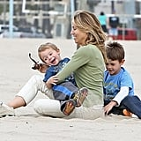 Sheryl Crow hung out at Venice Beach in LA with her sons, Wyatt and Levi.