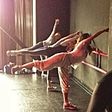 Brooke Burke is definitely living the fit life! She snapped this pic while teaching a barre class.