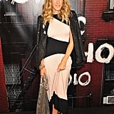 SJP looked chic in a monochrome maxi dress and sparkly blazer.