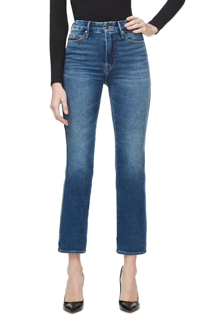 Good American Good Curve High-Waist Ankle Straight-Leg Jeans