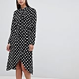 Unique 21 Polka-Dot Pussy-Bow Midi Dress