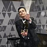 Rami Malek Spraying Champagne at the 2019 Oscars