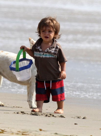 Matthew McConaughey and his son Levi at the beach