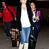 Kate Hudson wore jeans at the airport in LA.