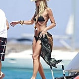 Elle Macpherson was on vacation in a black bikini.
