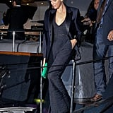 Forget the dress! Charlene Wittstock, Princess of Monaco, picked a sleek black pantsuit and blazer for her night out.