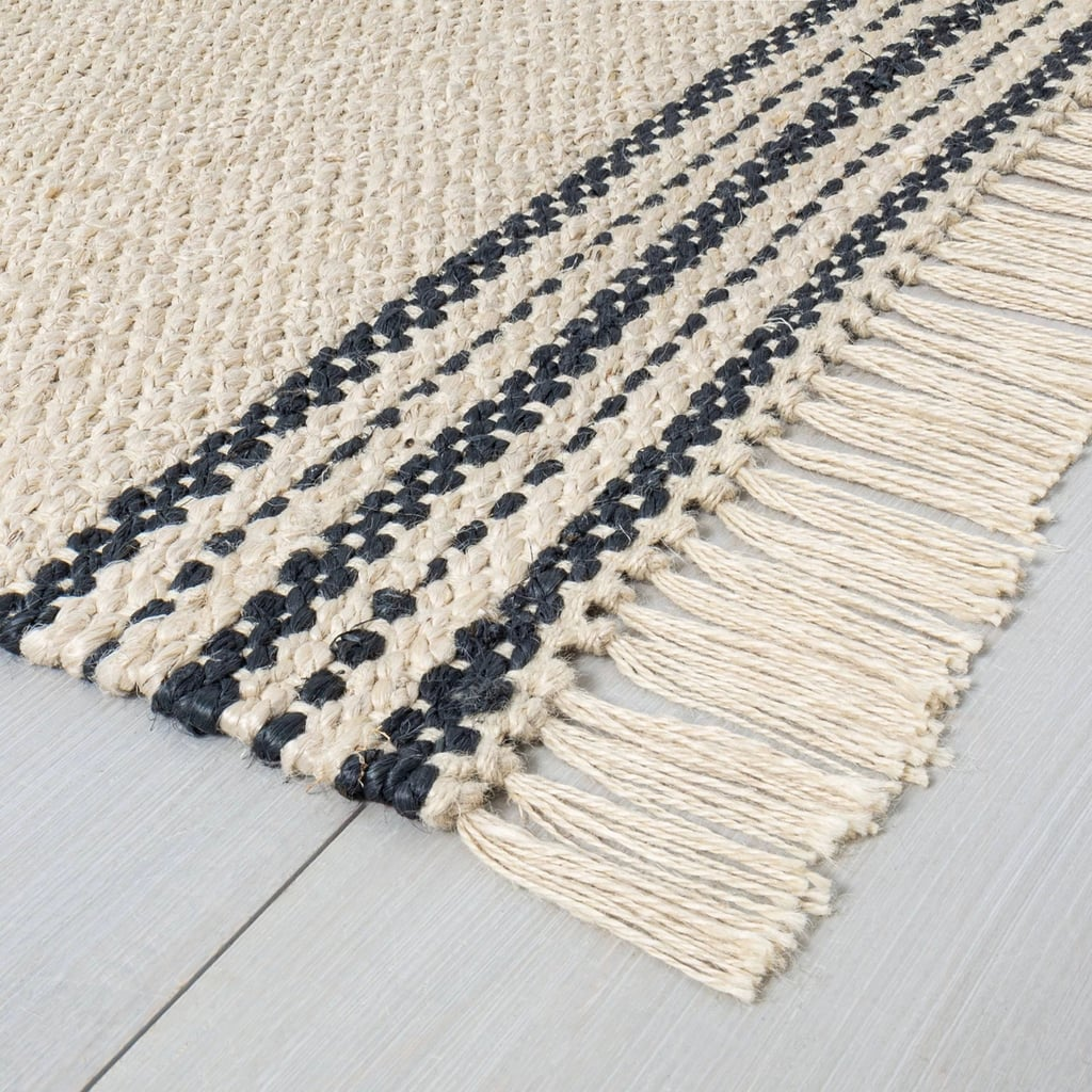 Jute Rug in Charcoal Stripe