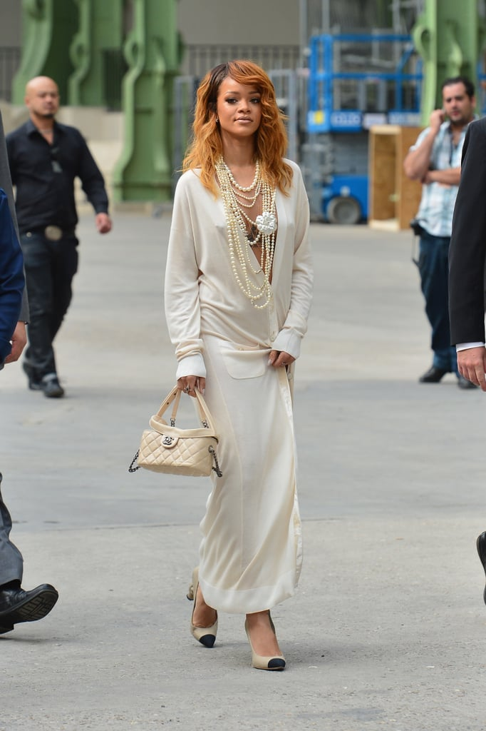 Rihanna made a sexy arrival to the Chanel show on Tuesday.