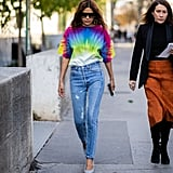 A simple tie-dyed tee in a bright color is all you need to give jeans some oomph