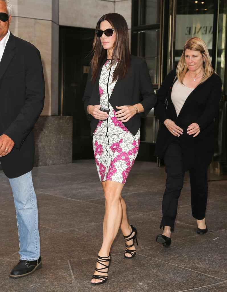 Sandra Bullock in Yigal Azrouël in New York City