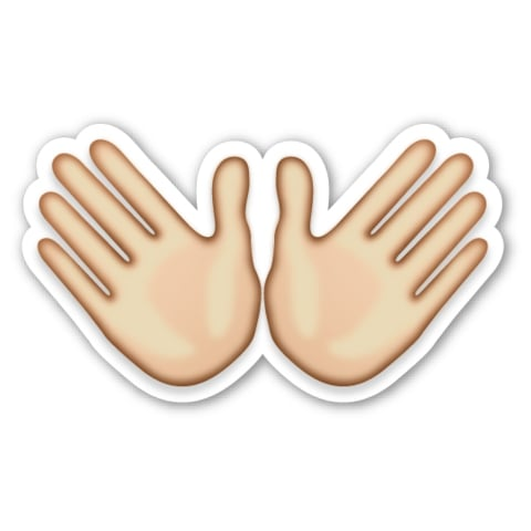 "Interpretation: ""Whatever, screw it."" Name + meaning: Open Hands Sign. Two open hands, representing either openness or a hug. Also known as: Hug emoji; jazz hands emoji"