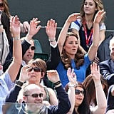The royal couple did the wave during the match between Andy Murray of Great Britain and Nicolas Almagro of Spain.