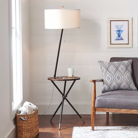 "Better Homes and Gardens 4'9"" Tripod End Table Floor Lamp"