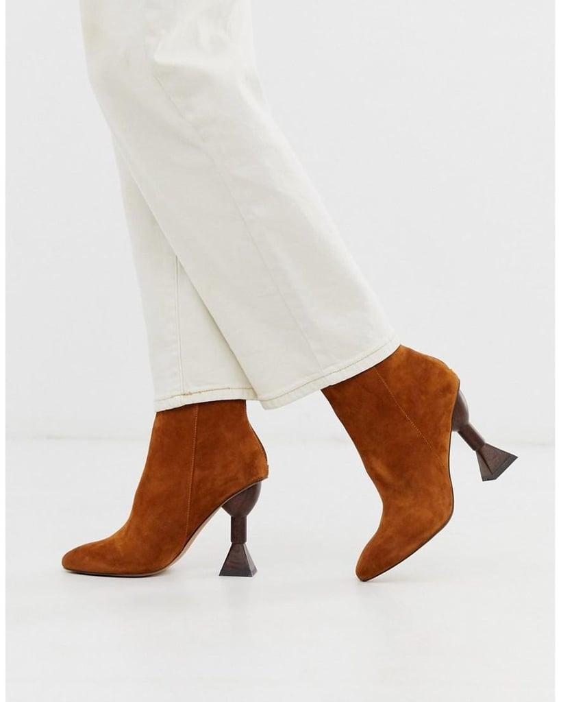 ASOS design Escape Premium Suede Sculptural Heel Boots