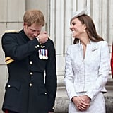 Once again, Prince Harry had Kate giggling as they stood on the balcony of Buckingham Palace.