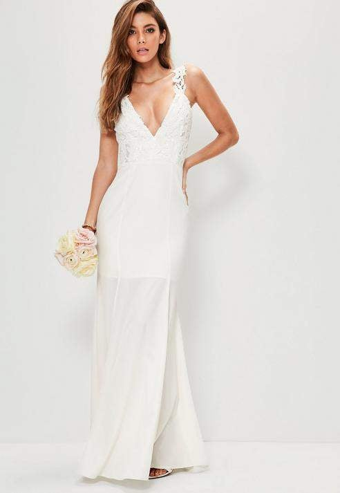 Missguided Bridal White Lace Criss Cross Bodice Maxi Dress | Wedding ...